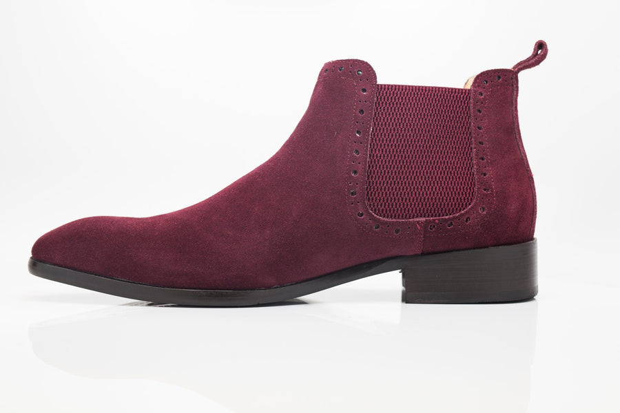 Suede Slip-On Boot Burgundy
