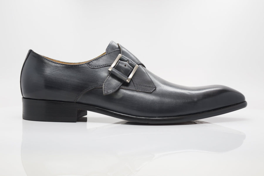 Burnished Calfskin Monkstrap Grey