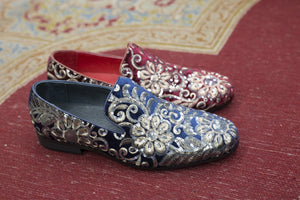 Embroidered Velvet Slip-On Loafer Sapphire