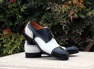 Burnished Calfskin Lace-Up Spectator Oxford Black/White