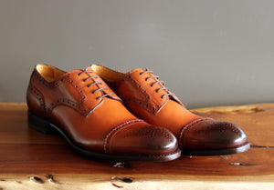 Burnished Calfskin Lace-Up Oxford Caramel