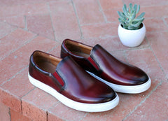 Carrucci by Maurice Calfskin Slip-On Sneaker Burgundy