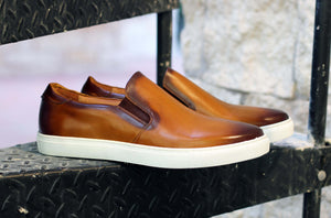 Carrucci by Maurice Calfskin Slip-On Sneaker Cognac