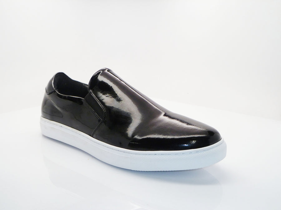 Carrucci by Maurice Shiny Calfskin Slip-On Sneaker Black
