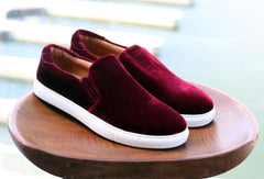 Carrucci by Maurice Velvet Slip-On Sneaker Burgundy