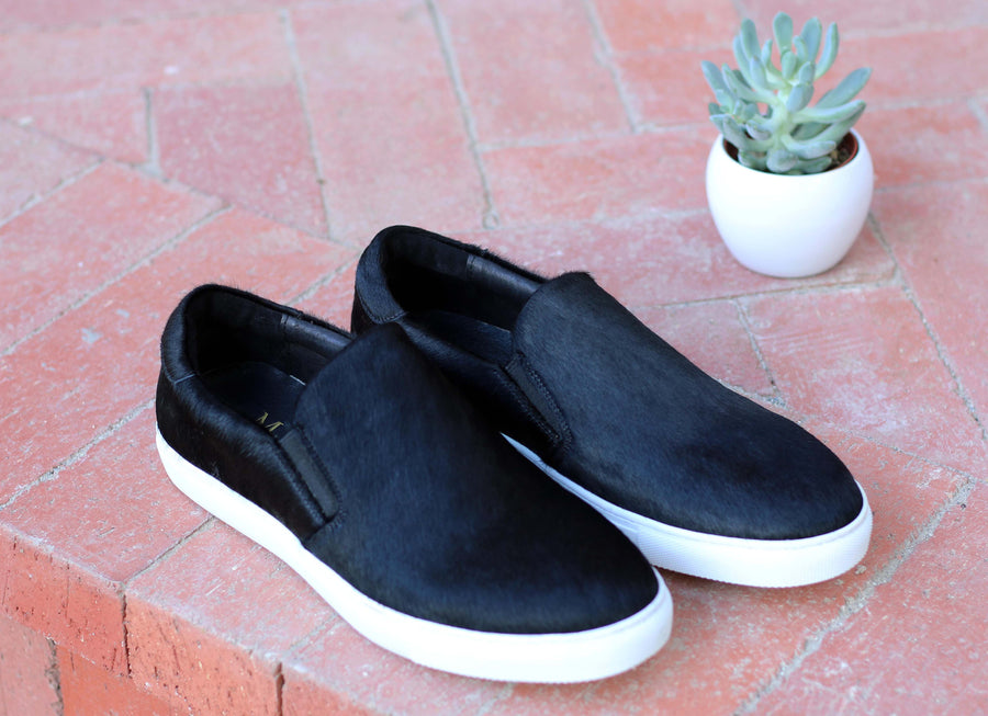 Carrucci by Maurice Pony Hair Slip-On Sneaker Black