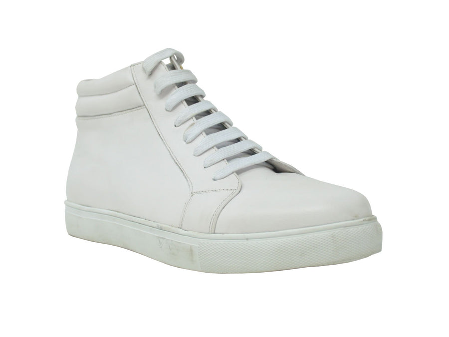 Calfskin High-Top Sneaker White