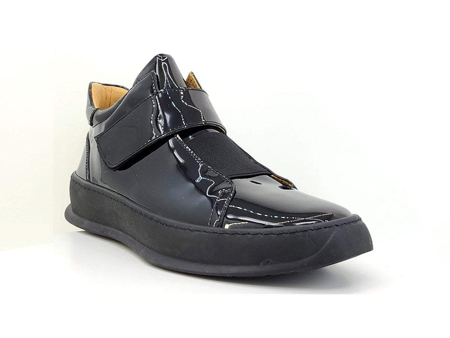 Shiny Calfskin High Top Sneaker Black