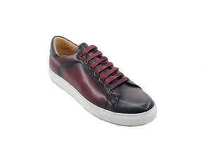 Calfskin Lace-Up Sneaker Burgundy