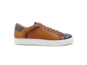 Calfskin Lace-Up Sneaker Cognac/Navy