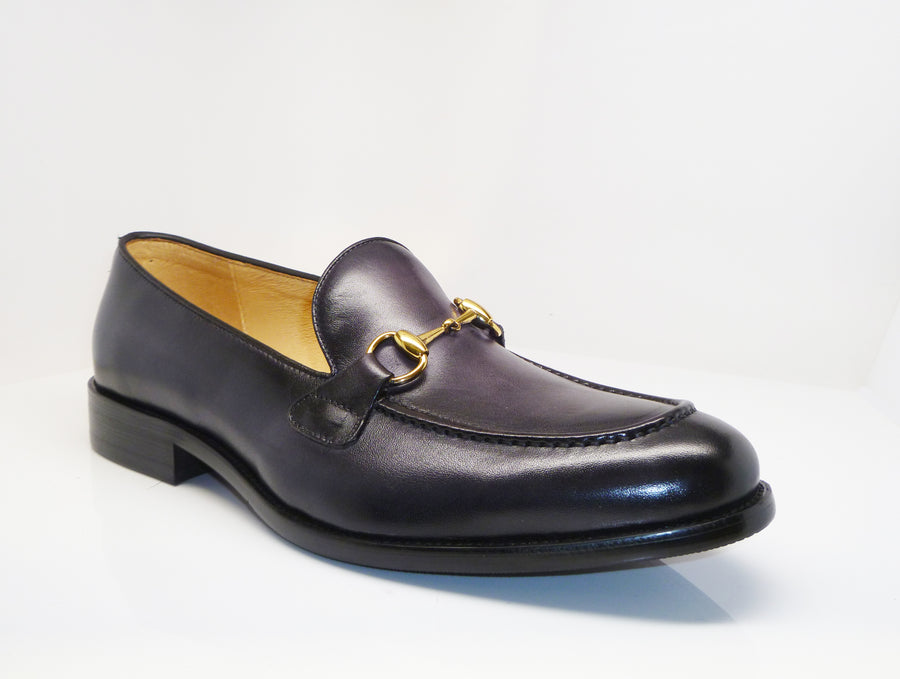 Burnished Calfskin Slip-On Loafer Grey