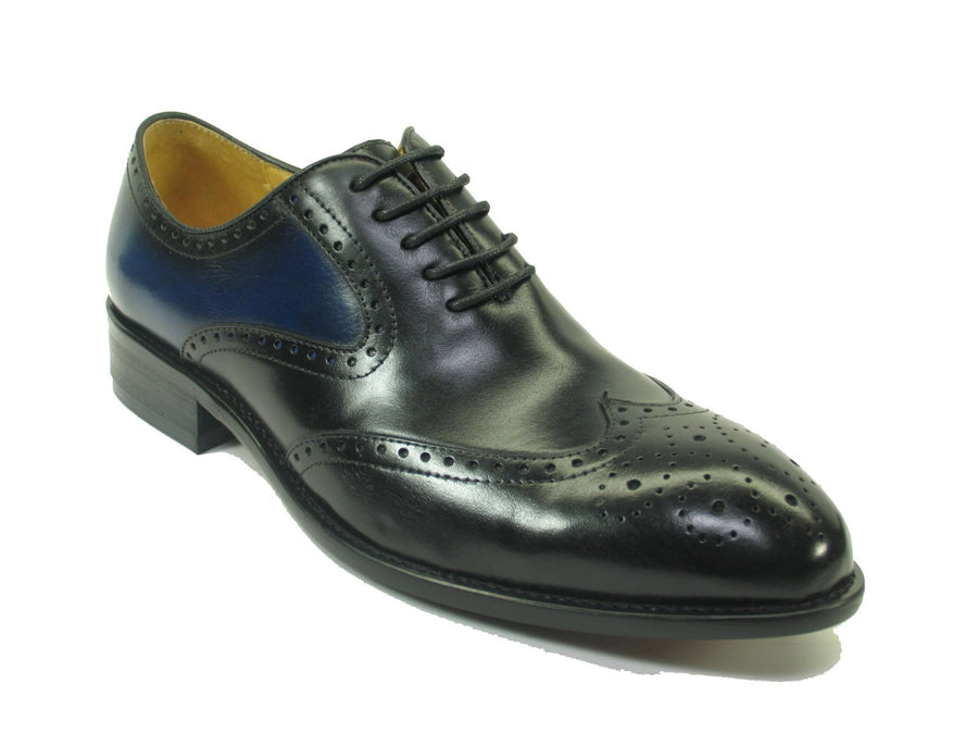 Calfskin Wingtip Lace-Up Oxford Black/Blue