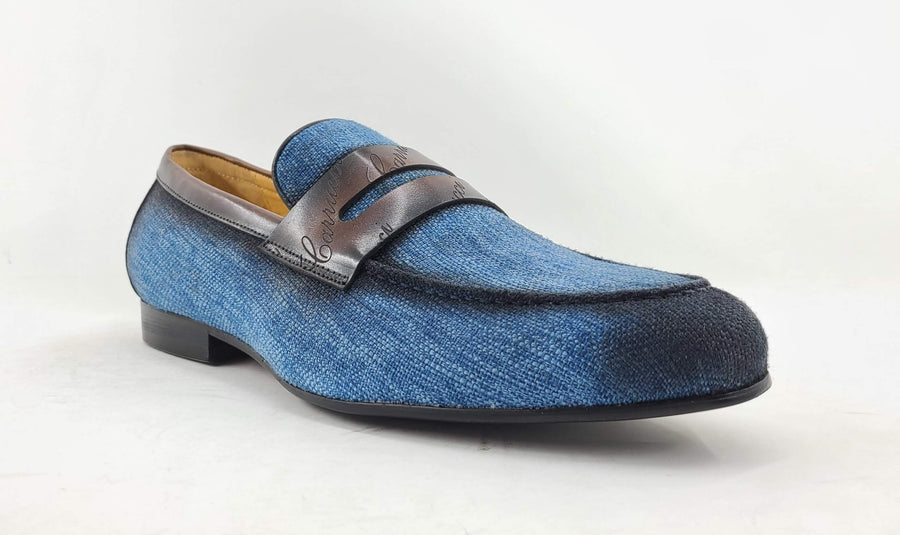 Woven Canvas & Calfskin Slip-On Loafer Blue/Brown