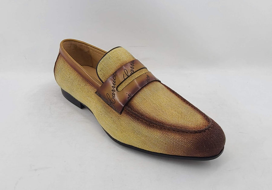 Woven Canvas & Calfskin Slip-On Loafer Yellow/Brown