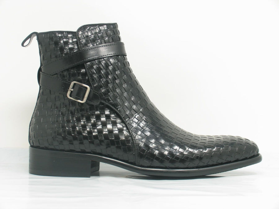 Woven Calfskin Slip-On Boot Black