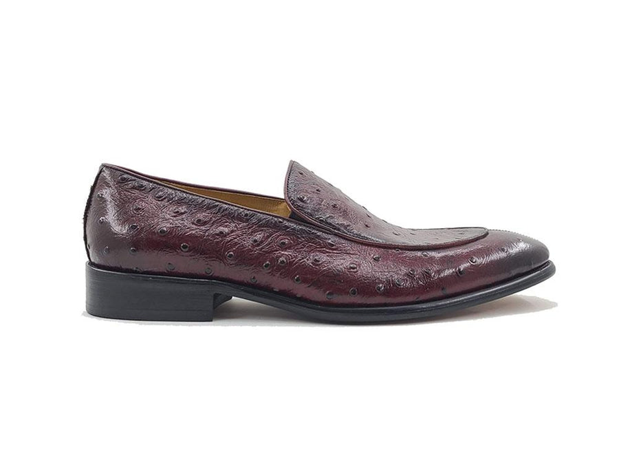 Carrucci Ostrich Embossed Calfskin Loafer Burgundy