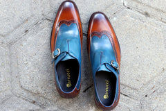 Calfskin Monkstrap Shoe Blue/Cognac
