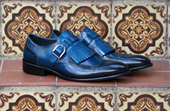 Calfskin Monkstrap Shoe with Removable Kiltie Blue