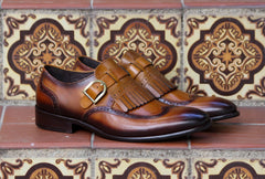 Calfskin Monkstrap Shoe with Removable Kiltie Cognac