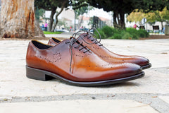 Burnished Calfskin Lace-Up Oxford Cognac