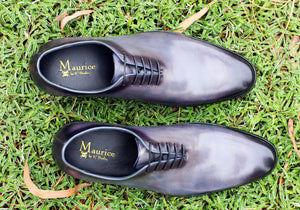 Burnished Calfskin Lace-Up Oxford Grey