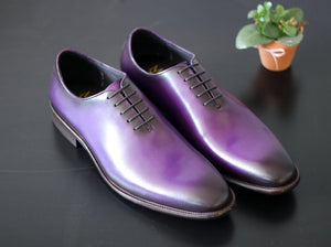 Burnished Calfskin Lace-Up Oxford Purple