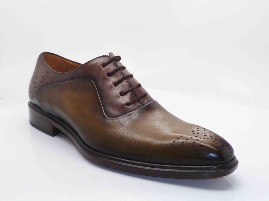 Mezlan Burnished Calfskin Lace-Up Oxford Olive/Brown