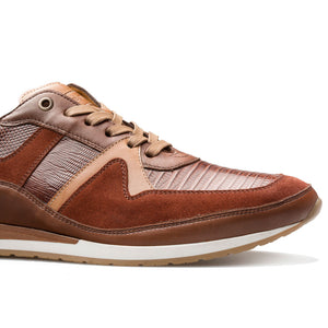 Mezlan Lizard & Suede Lace-Up Luxury Sneaker Brown