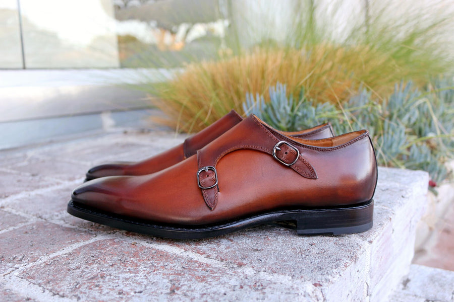 Alex Double Monkstrap Shoe Caramel
