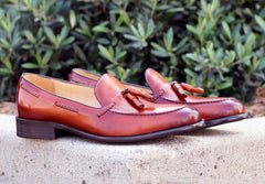 Burnished Calfskin Tasseled Loafer Cognac