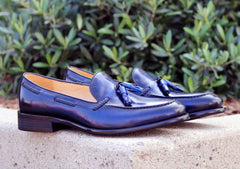 Burnished Calfskin Tasseled Loafer Blue