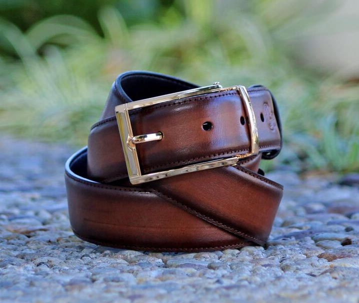 Burnished Calfskin Belt Brown