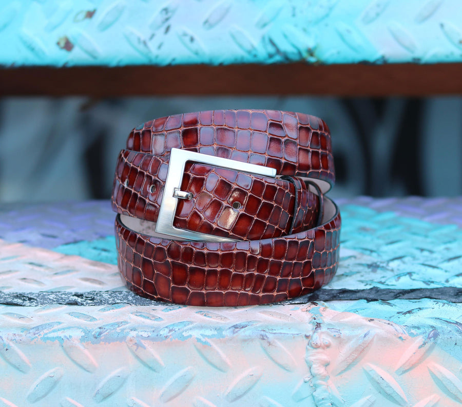 Corrente Crocodile Printed Calfskin Belt Sport