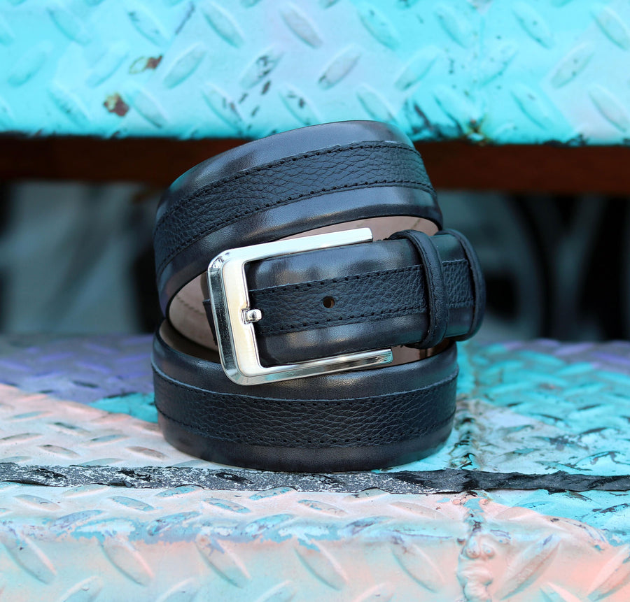 Corrente Calfskin & Deerskin Belt Black