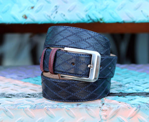 Corrente Quilted Calfskin Belt Navy