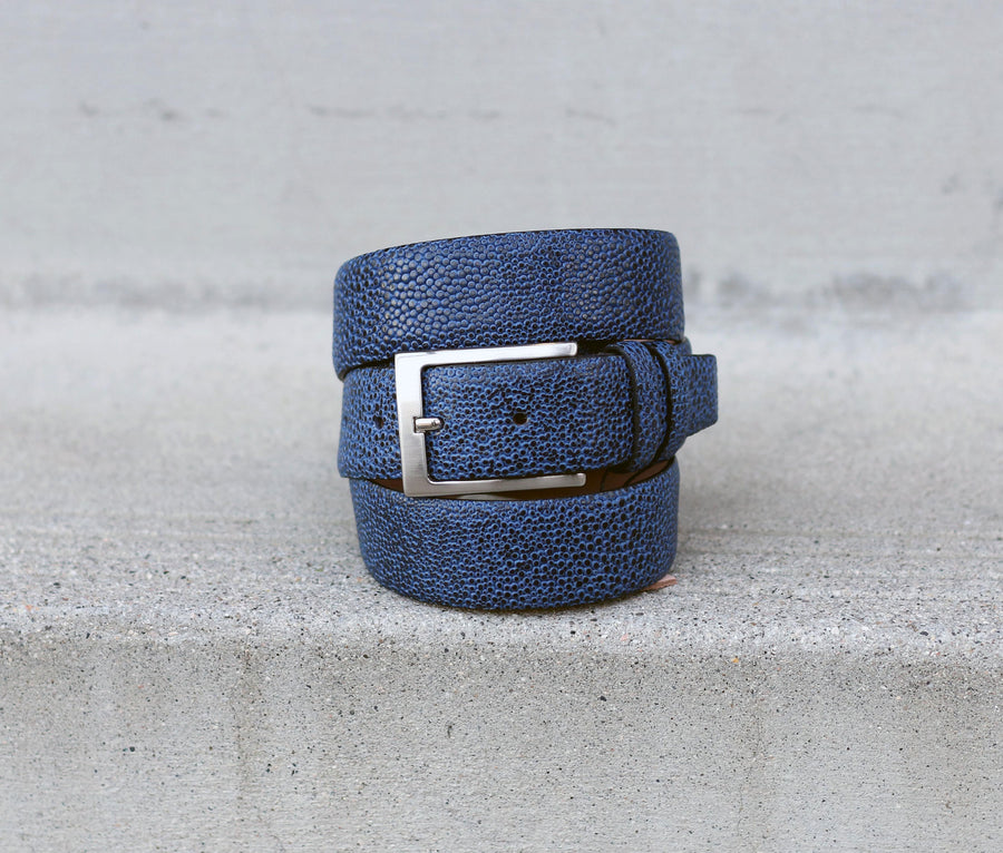 Corrente Stingray Printed Calfskin Belt Blue