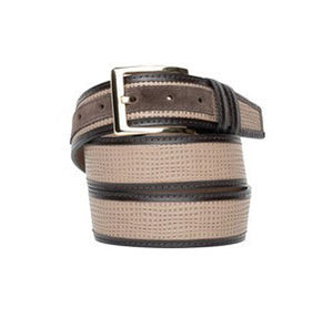 Corrente Perforated Calfskin Belt Taupe
