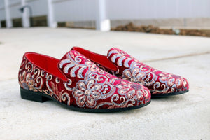 Embroidered Velvet Slip-On Loafer Ruby