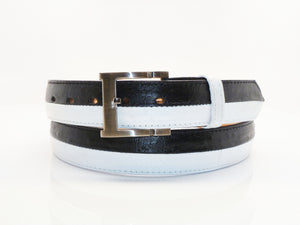 Ostrich Belt Black/White
