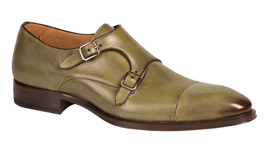 Mezlan Cajal Double Monkstrap Shoe Olive