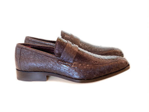 Pelle Exotics Ostrich Slip-On Penny Loafer Dark/Brown