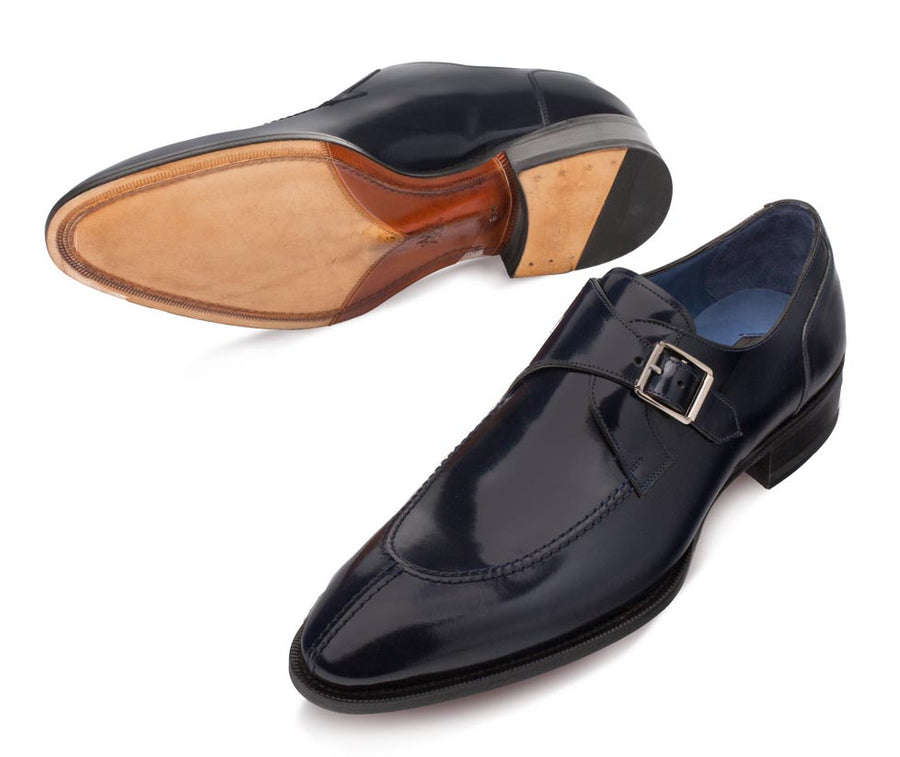 Mezlan Calfskin Monkstrap Shoe Black
