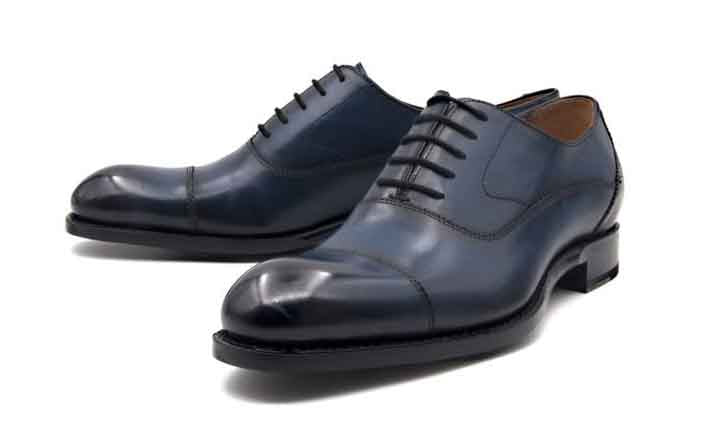 "Burnished Calfskin ""Ethan"" Cap Toe Oxford Blue"