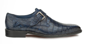 Mezlan Magnus Crocodile Monkstrap Shoe Blue