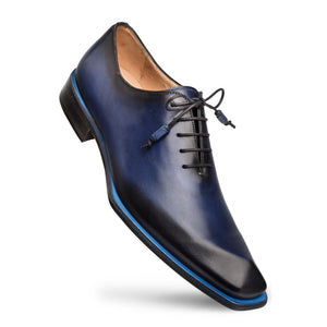 Mezlan Asymmetrical Lace-Up Oxford Blue