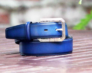 Burnished Calfskin Belt Blue
