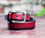 Burnished Calfskin Belt Burgundy