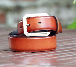 Burnished Calfskin Belt Caramel