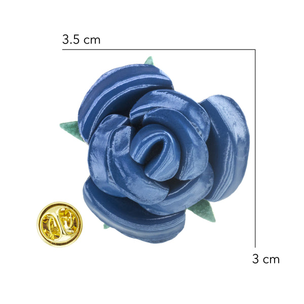 Lapel - PU Leather Navy Rosette