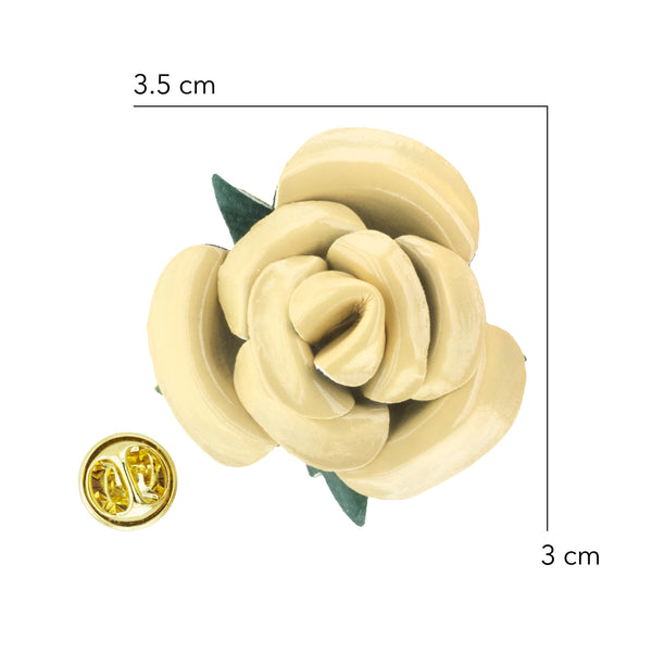 Lapel - PU Leather Golden Cream Rosette